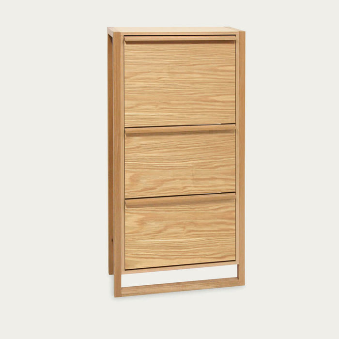 Oak NewEst Shoe Cabinet 3 Door | Bombinate