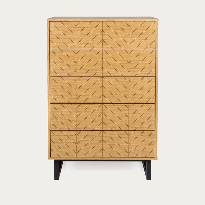 Oak Herringbone Print Camden Bedroom Chest | Bombinate