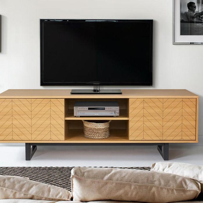 Oak Herringbone Print Camden TV Unit | Bombinate