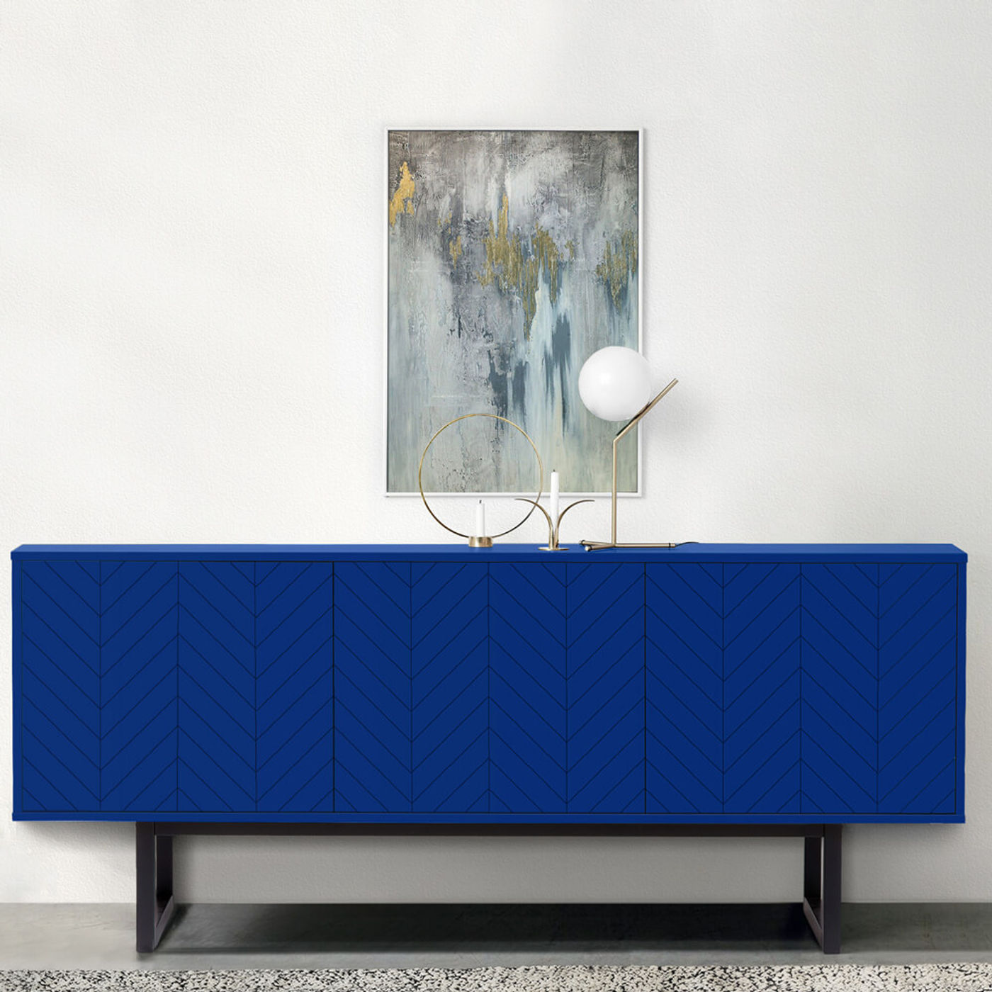 Blue Herringbone Print Camden Sideboard   Bombinate
