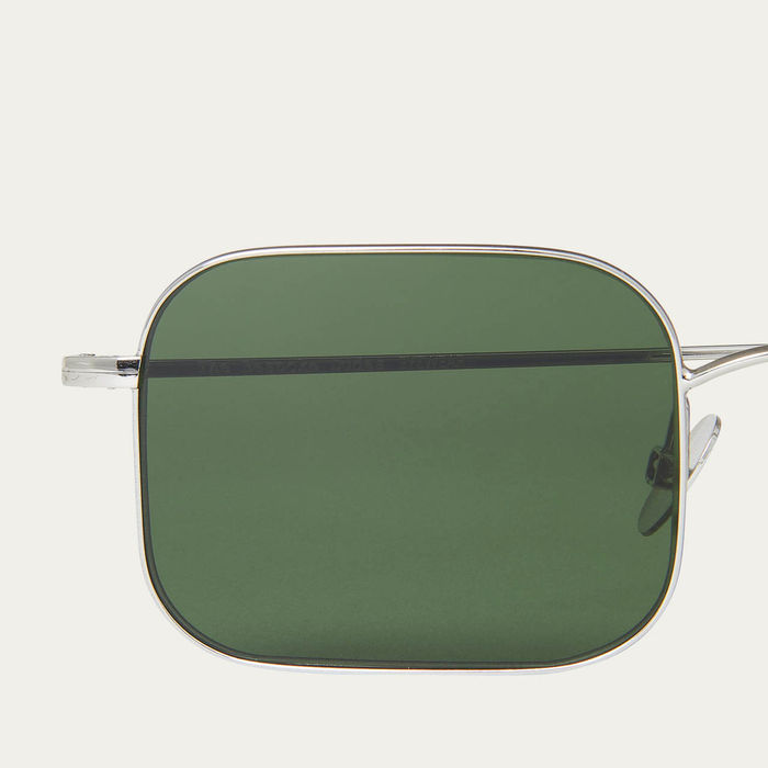 Rhodium / Bottle Green Flare Sunglasses | Bombinate