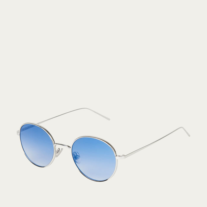 Rhodium / Blue Ulster Sunglasses | Bombinate