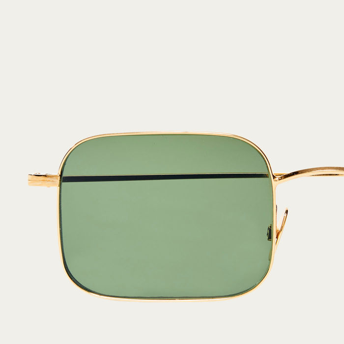 Gold / Bottle Green Flare Sunglasses | Bombinate
