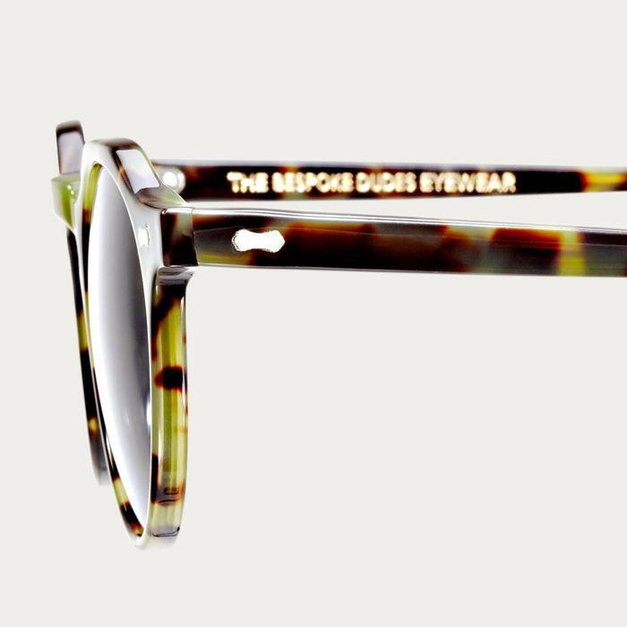 Green Tortoise / Gradient Grey Lapel Sunglasses | Bombinate