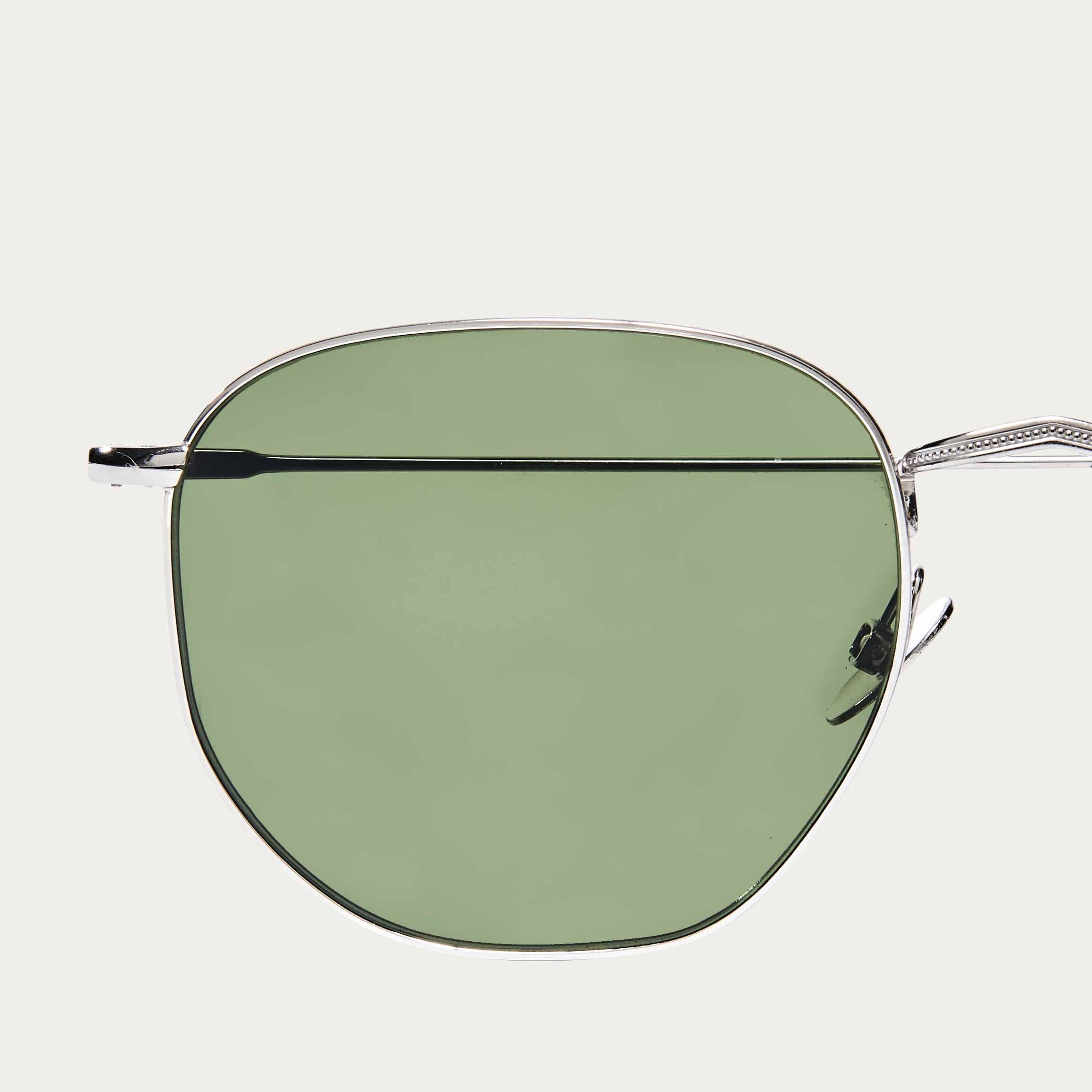 Rhodium / Bottle Green Mohair Sunglasses | Bombinate