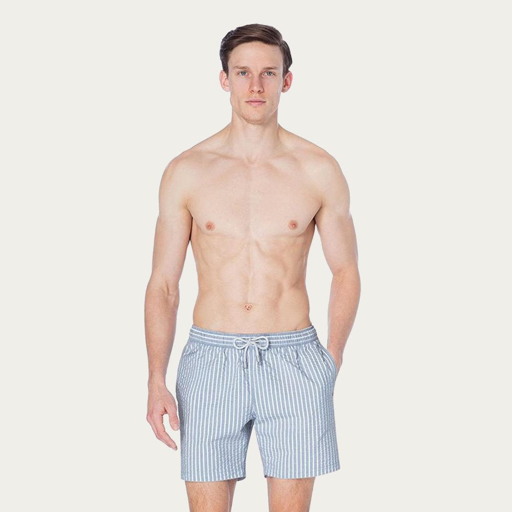 Stripey Crushed Arthus Yarn Dyed Swim short  | Bombinate