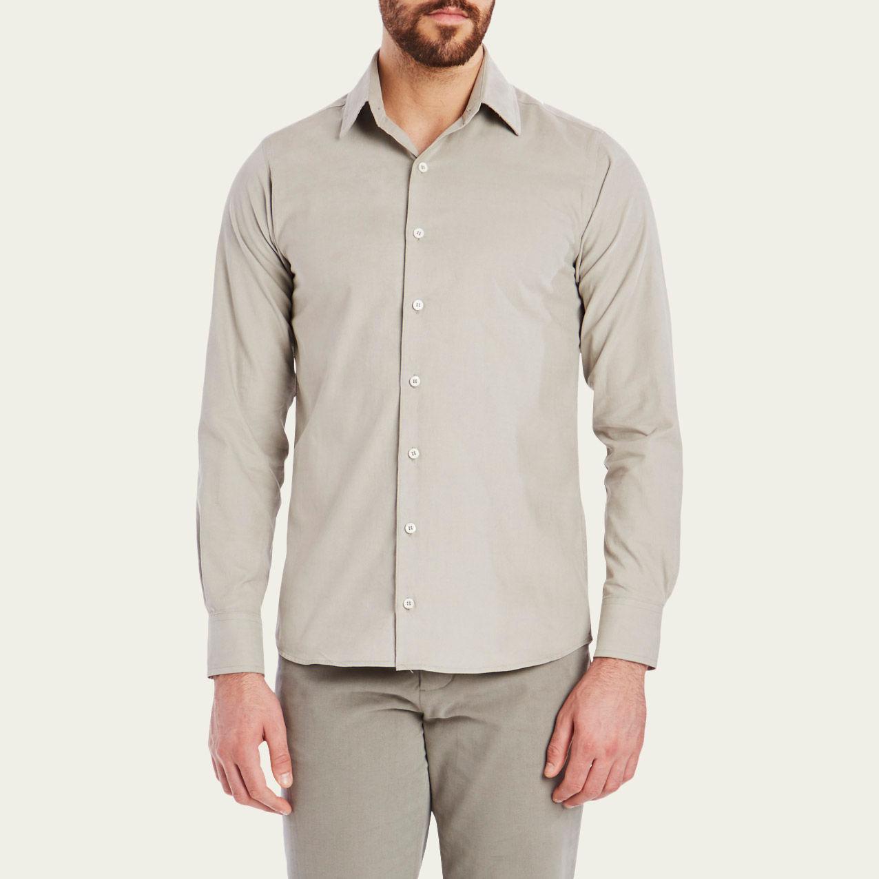 Mushroom Cord Plain Collar Shirt 1