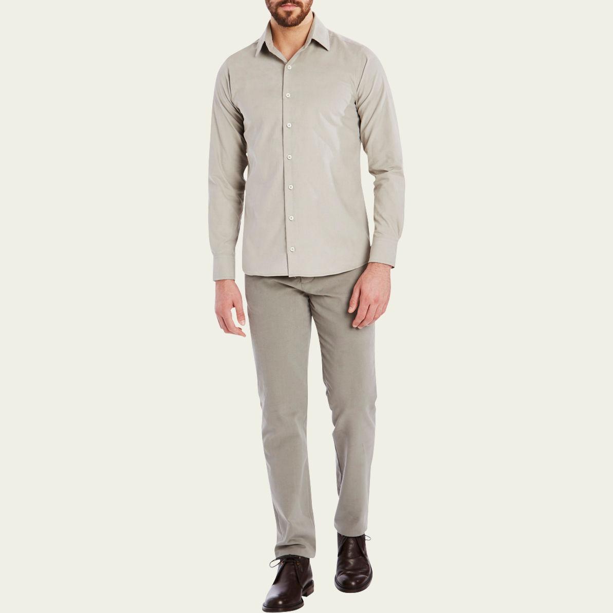 Mushroom Cord Plain Collar Shirt 2