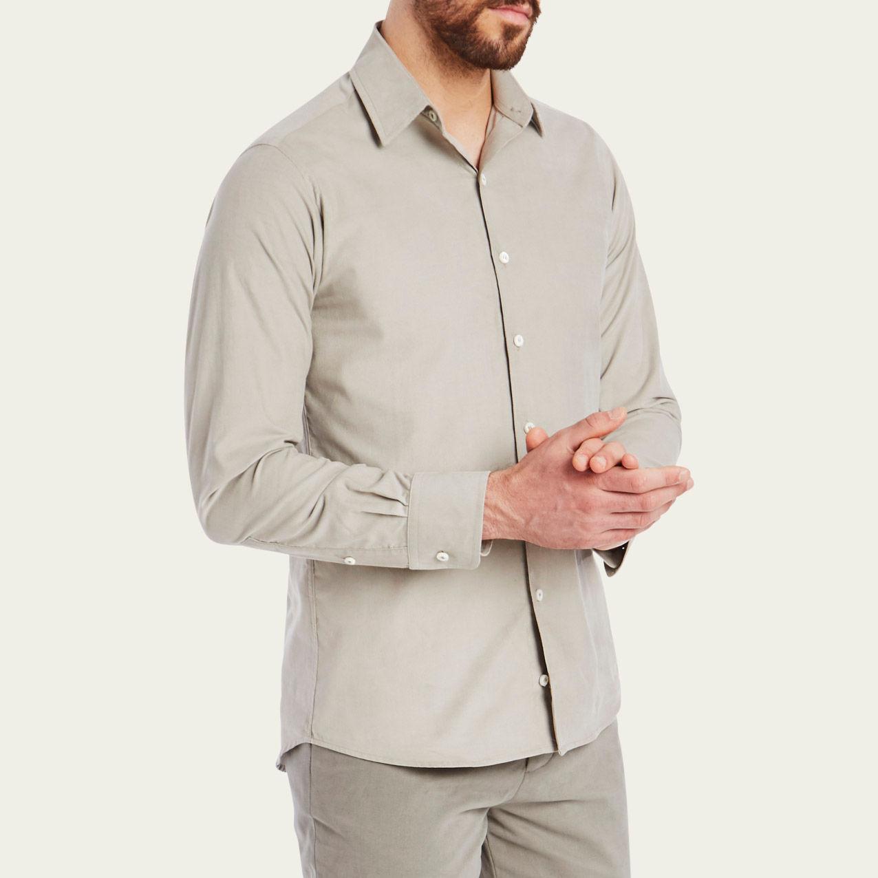 Mushroom Cord Plain Collar Shirt 3