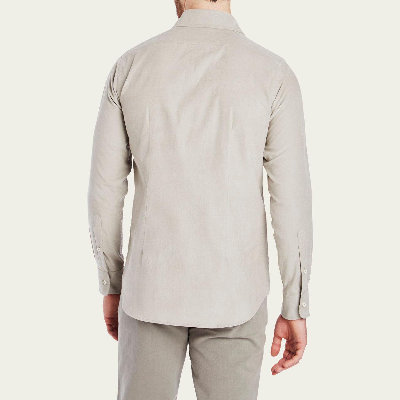 Mushroom Cord Plain Collar Shirt 4
