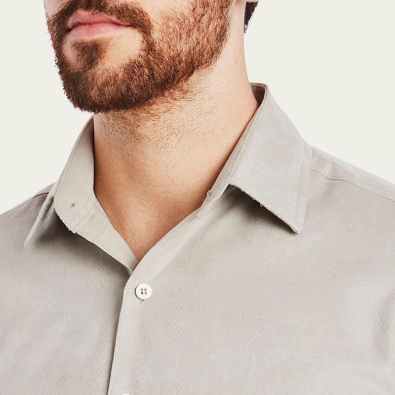 Mushroom Cord Plain Collar Shirt 6