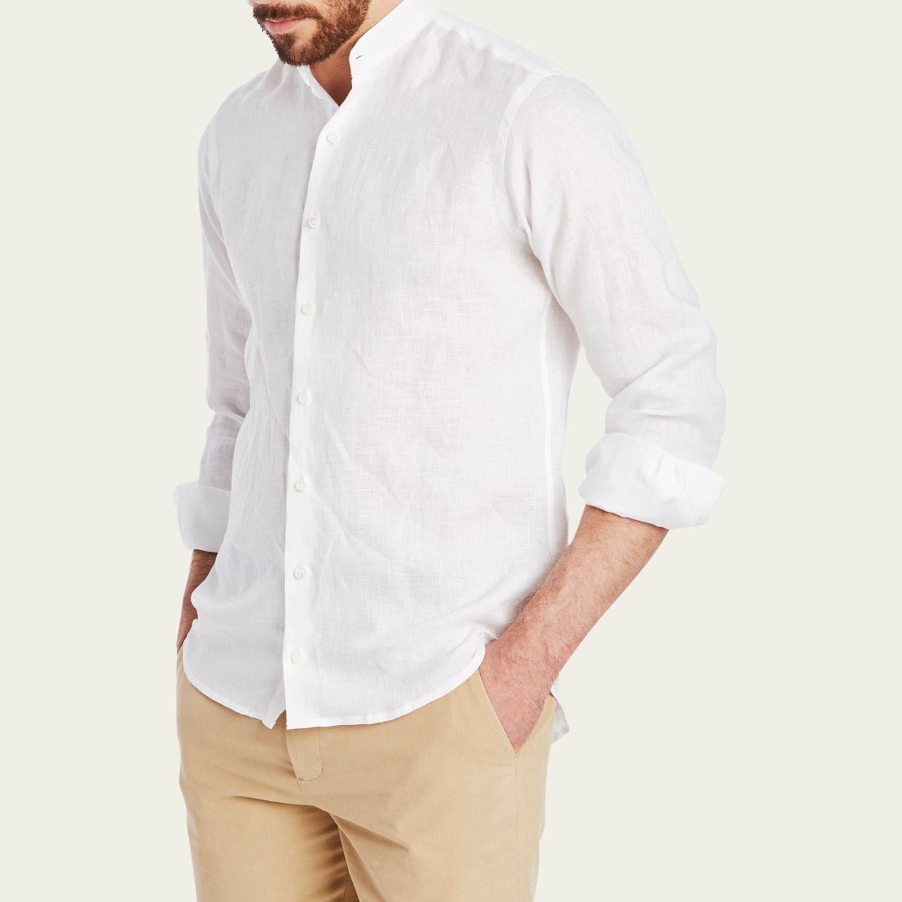 White Linen Grandad Collar Shirt  | Bombinate