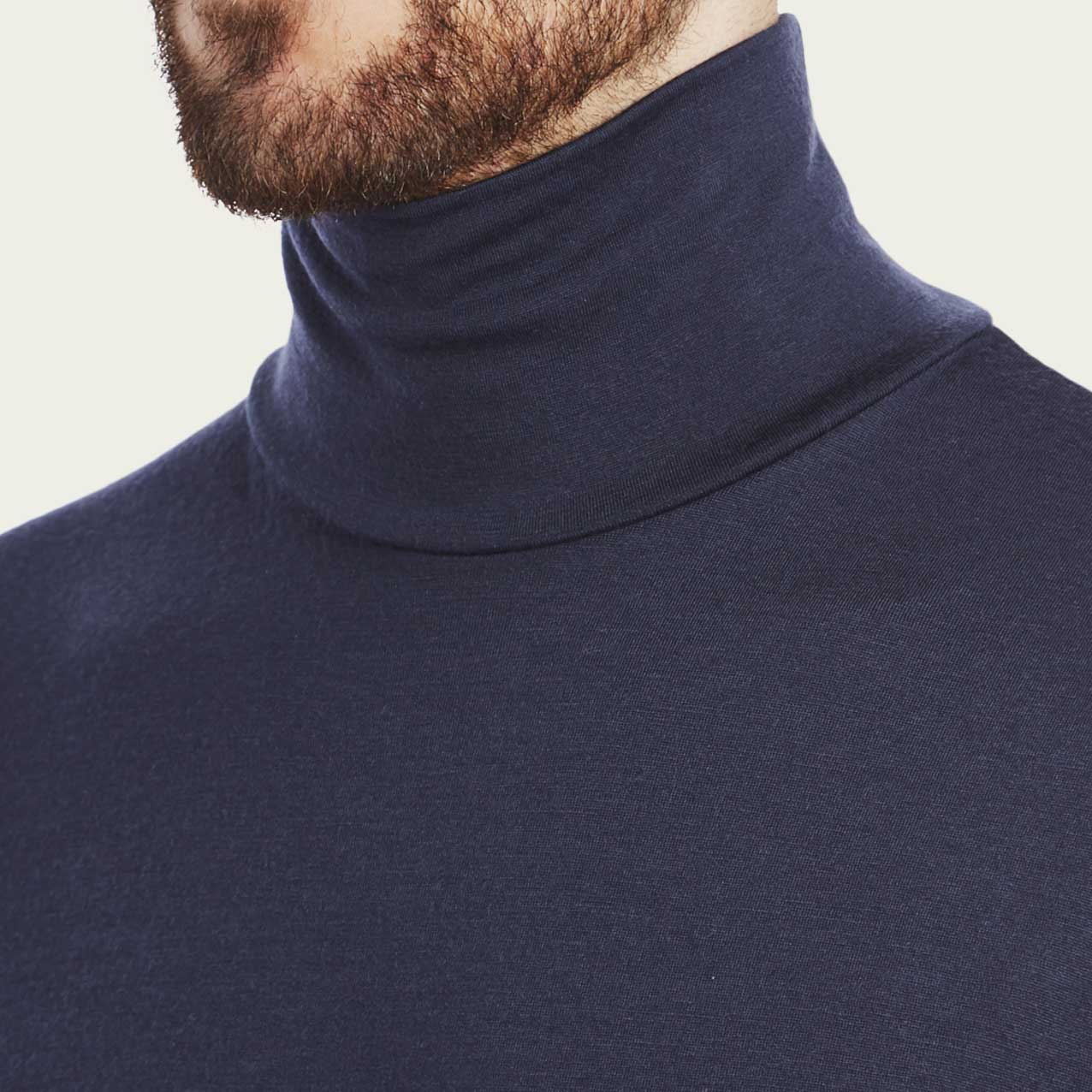 Navy Cashmere Submariner Roll Neck  | Bombinate