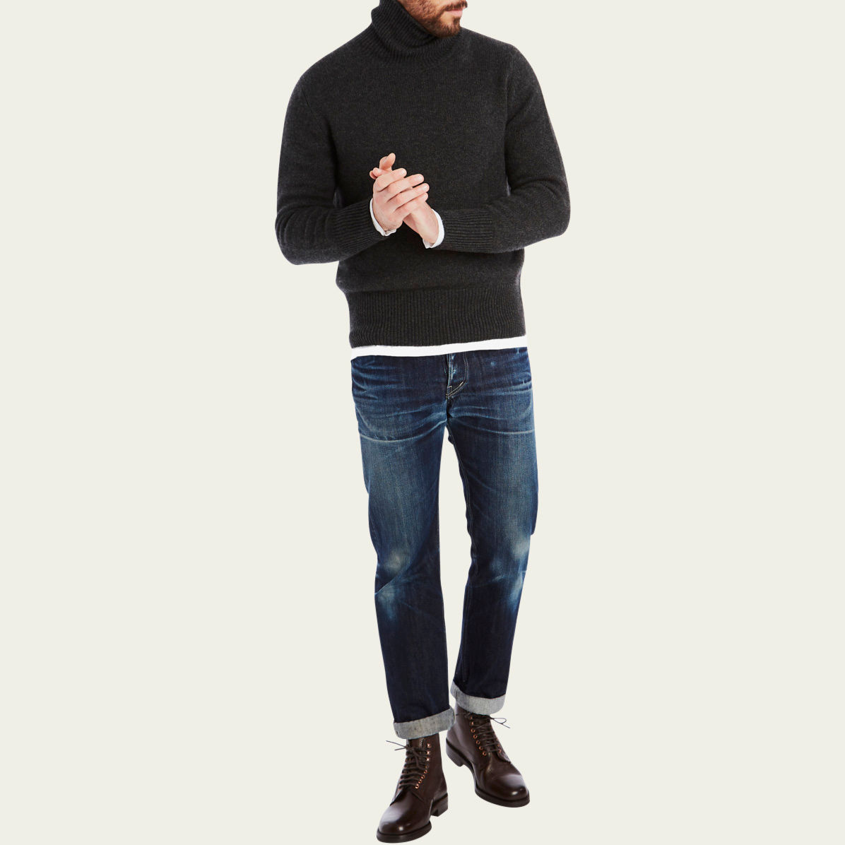 Charcoal Cashmere Submariner Roll Neck  | Bombinate
