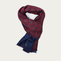 Burgundy Paisley and Navy Blue Silk and Wool Scarf 0
