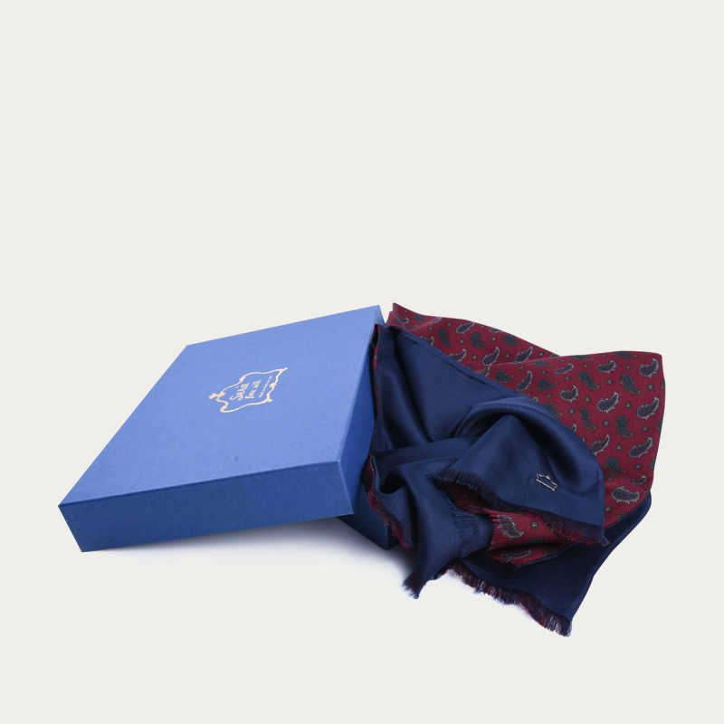 Burgundy Paisley and Navy Blue Silk and Wool Scarf 1