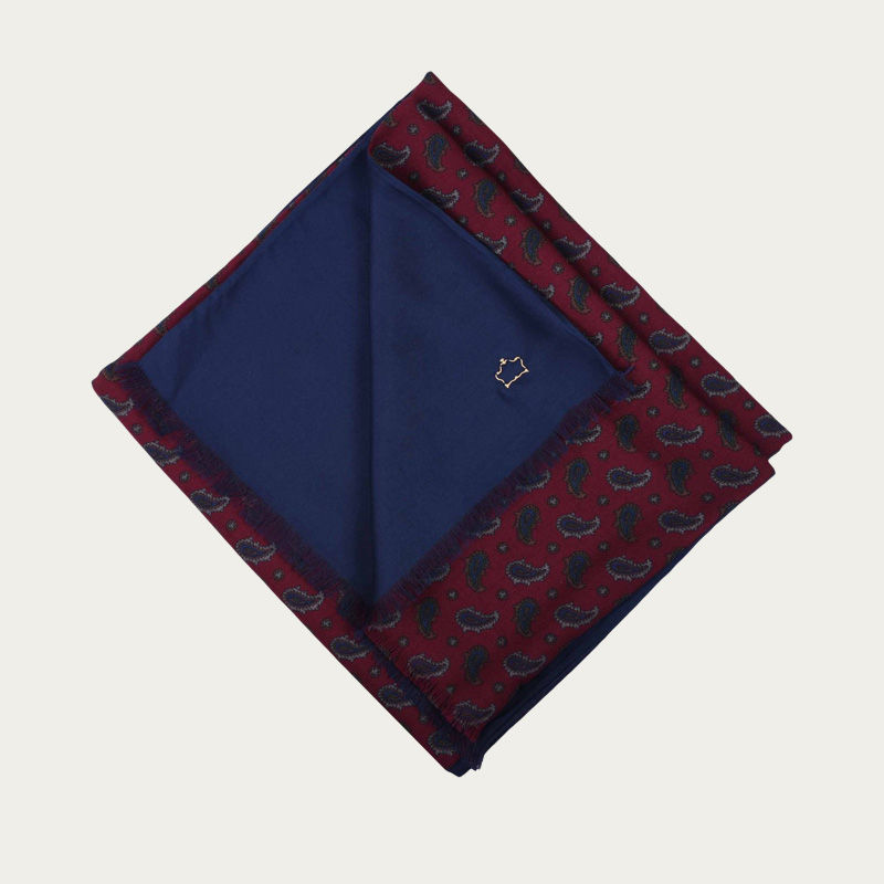 Burgundy Paisley and Navy Blue Silk and Wool Scarf | Bombinate