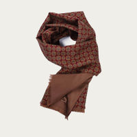 Burgundy and Mustard Silk and Wool Scarf | Bombinate