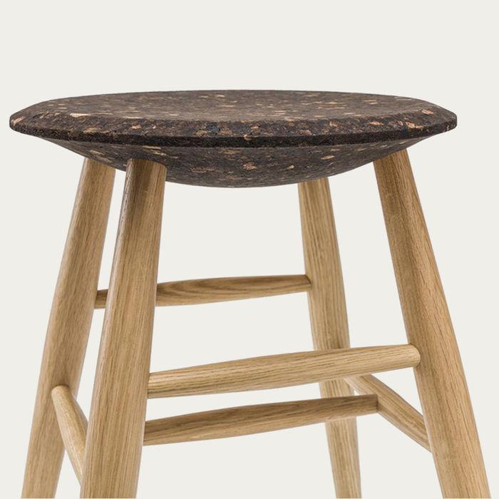 Dark Cork Seat & Natural Legs Drifted Stool by Lars Beller Fjetland | Bombinate