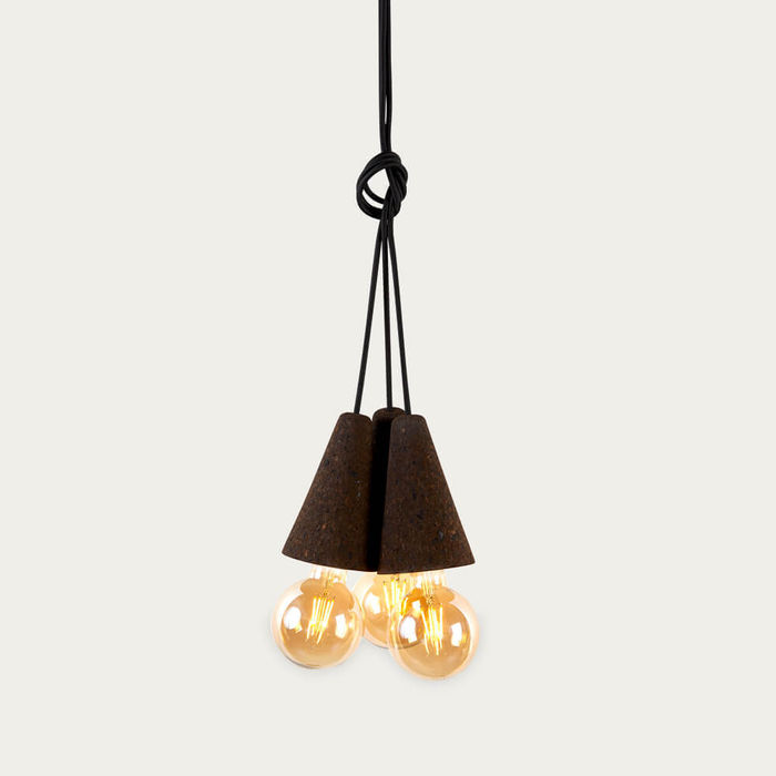 Expanded Cork and Black Cable Sino #3 Pendant Lamp | Bombinate