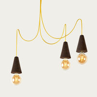 Expanded Cork and Yellow Cable Sino #3 Pendant Lamp | Bombinate