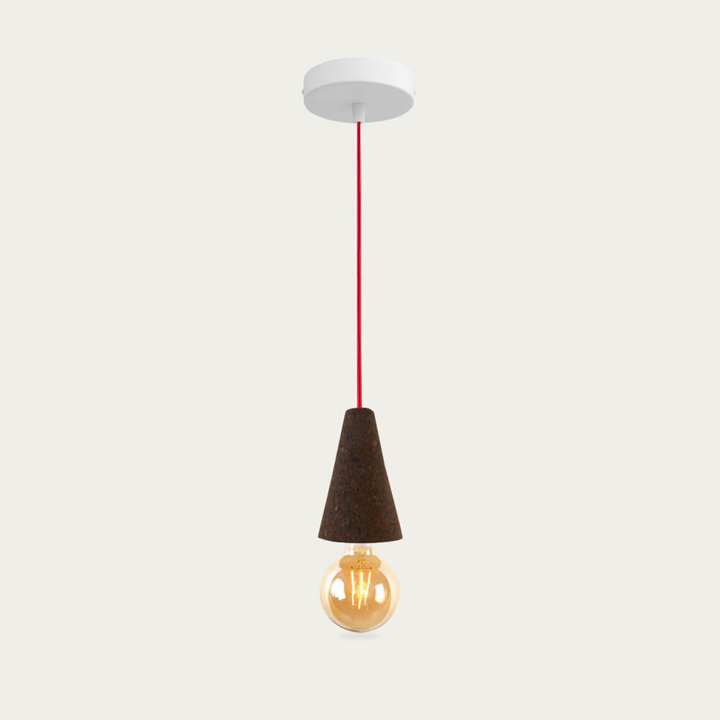 Expanded Cork and Red Cable Sino #1 Pendant Lamp | Bombinate