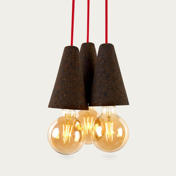 Expanded Cork and Red Cable Sino #3 Pendant Lamp | Bombinate