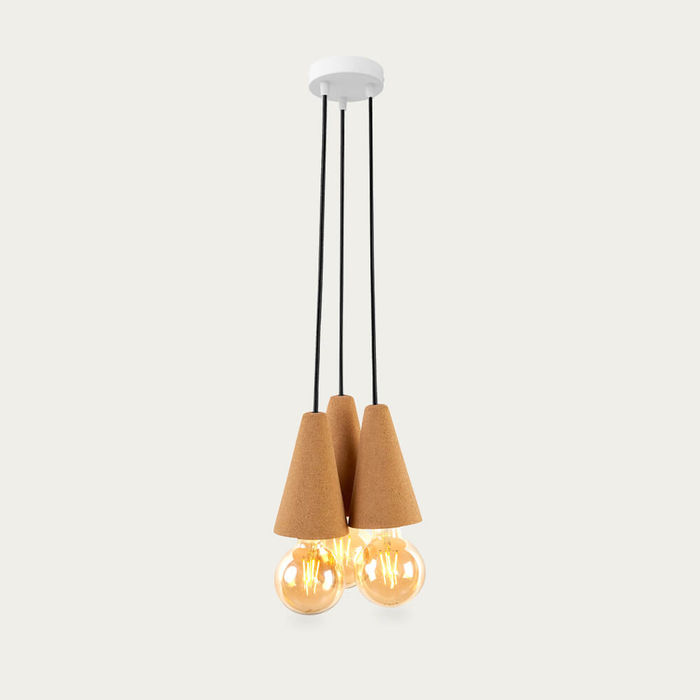 Light Cork and Black Cable Sino #3 Pendant Lamp | Bombinate