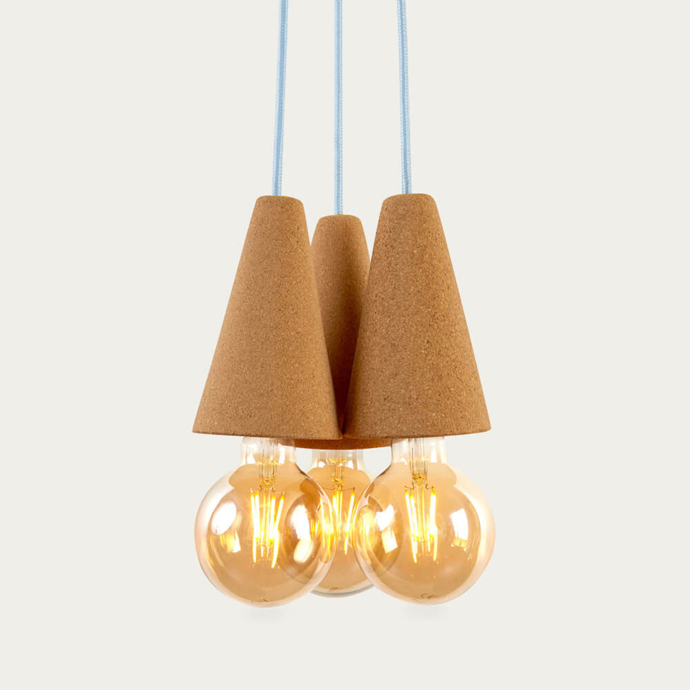 Light Cork and Blue Cable Sino #3 Pendant Lamp   Bombinate