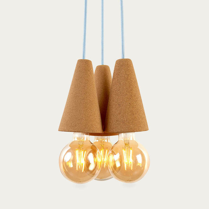 Light Cork and Blue Cable Sino #3 Pendant Lamp | Bombinate