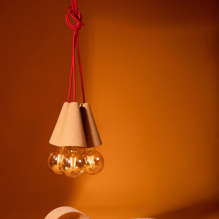 Light Cork and Red Cable Sino #3 Pendant Lamp | Bombinate