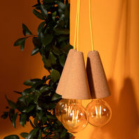 Light Cork and Yellow Cable Sino #3 Pendant Lamp | Bombinate