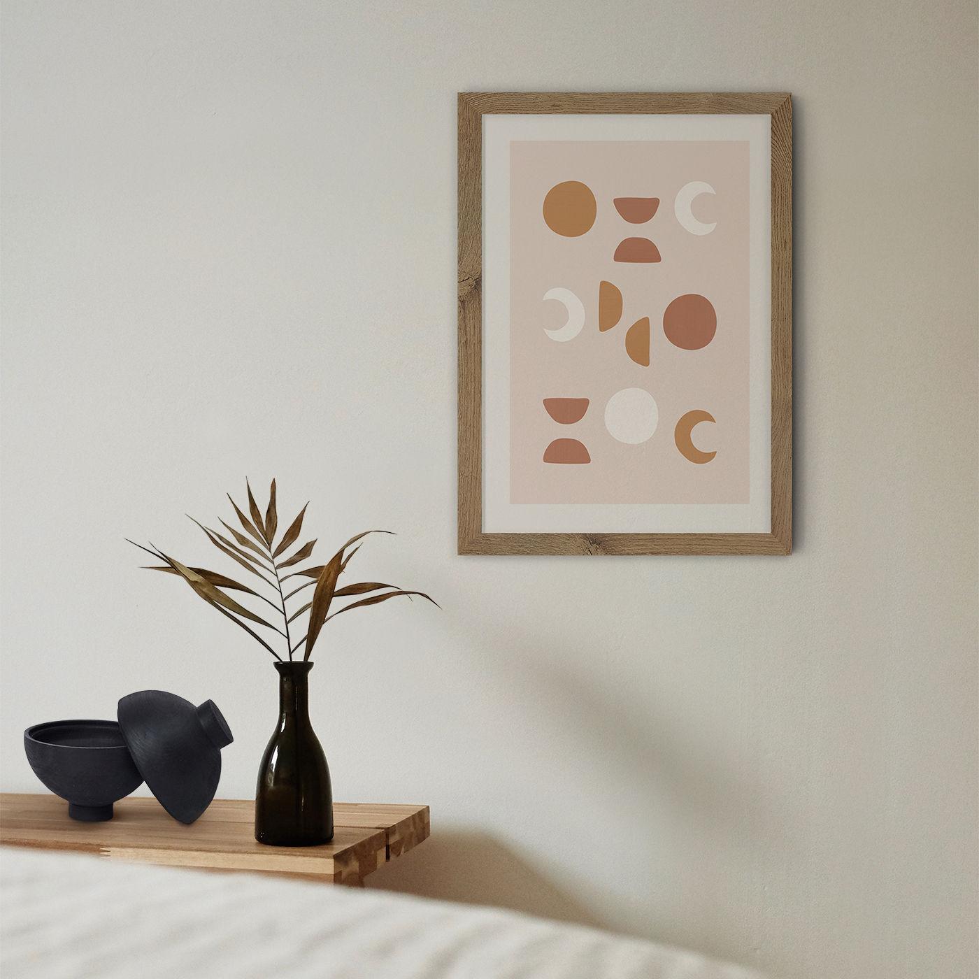 Blush Moon Phases Art Print Oak Frame | Bombinate