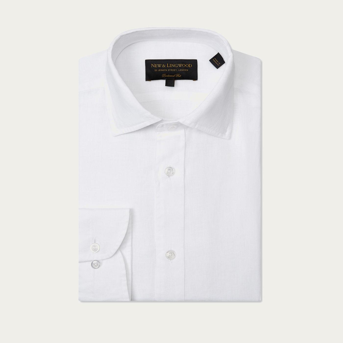 White Tailored Fit Linen Shirt | Bombinate