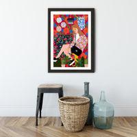 Waiting in My Living Room Art Print Black Frame | Bombinate