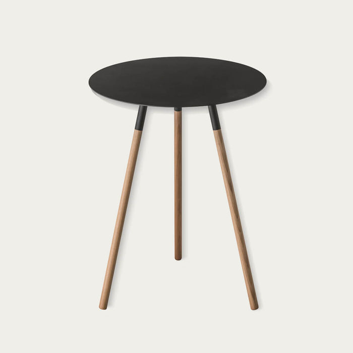 Black Plain Small Round End Table | Bombinate