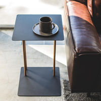 Black Plain Sliding Couch End Table | Bombinate