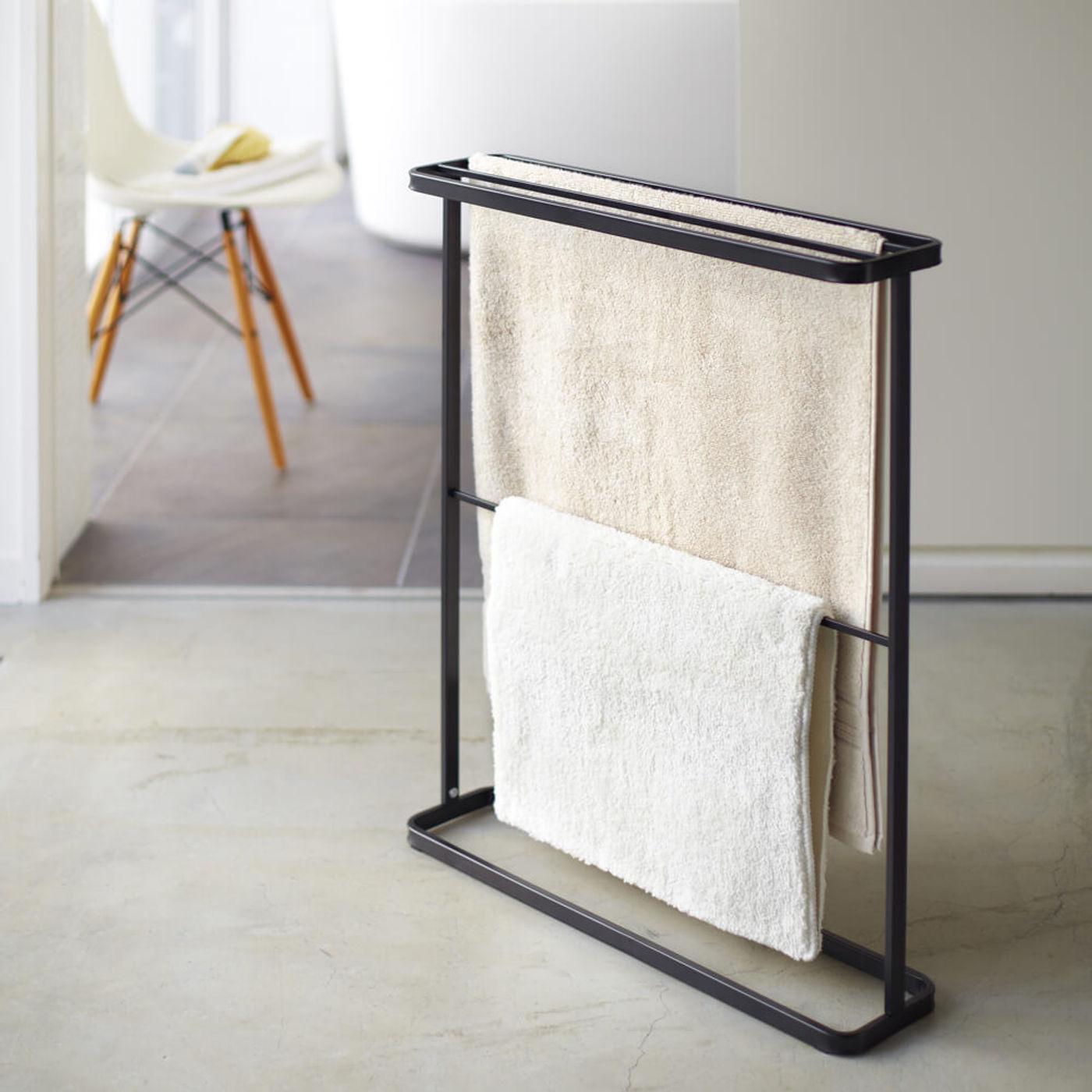 Black Tower Standing Bath Towel Hanger | Bombinate