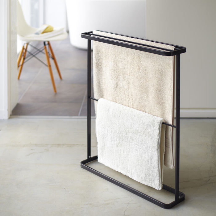 Black Tower Standing Bath Towel Hanger | Bombinate
