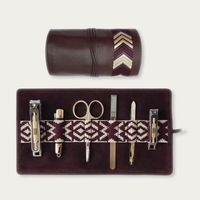 Bordeaux Red Gaucho Grooming Roll: Men's Manicure Set | Bombinate