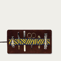 Dark Brown/Yellow Gaucho Grooming Roll: Men's Manicure Set   Bombinate