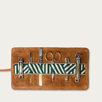 Tan/Green Gaucho Grooming Roll: Men's Manicure Set | Bombinate