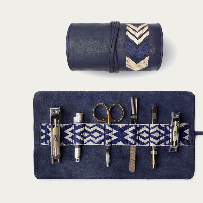 Navy Blue Gaucho Grooming Roll: Men's Manicure Set | Bombinate