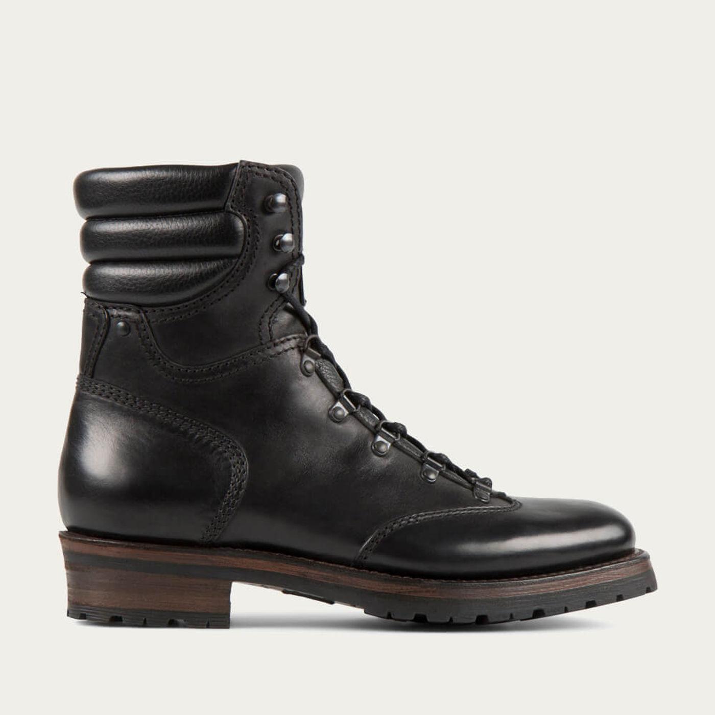 Black Reflex Cordovan Leather Hiker Boot | Bombinate