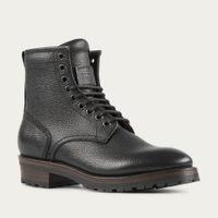 Black Royal Scotch Grain Leather Logger Boots   Bombinate