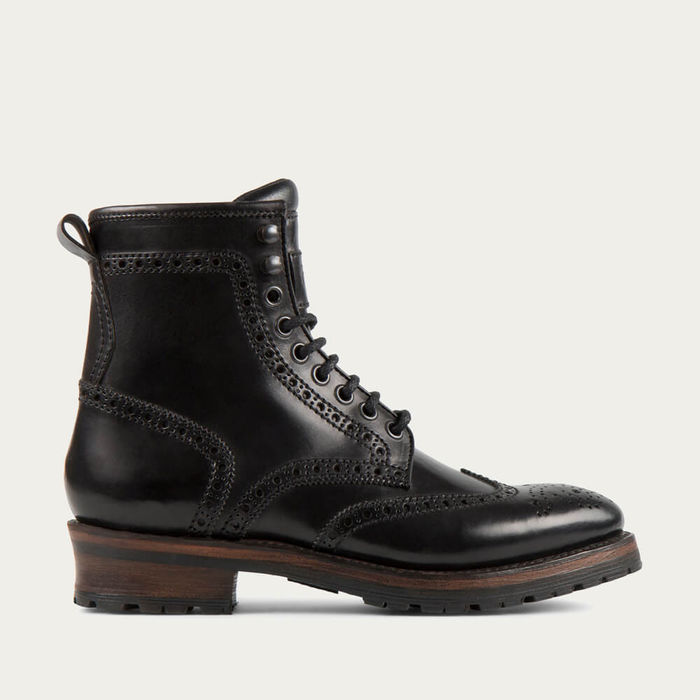 Black Baltimore Cordovan Leather Logger Boots | Bombinate
