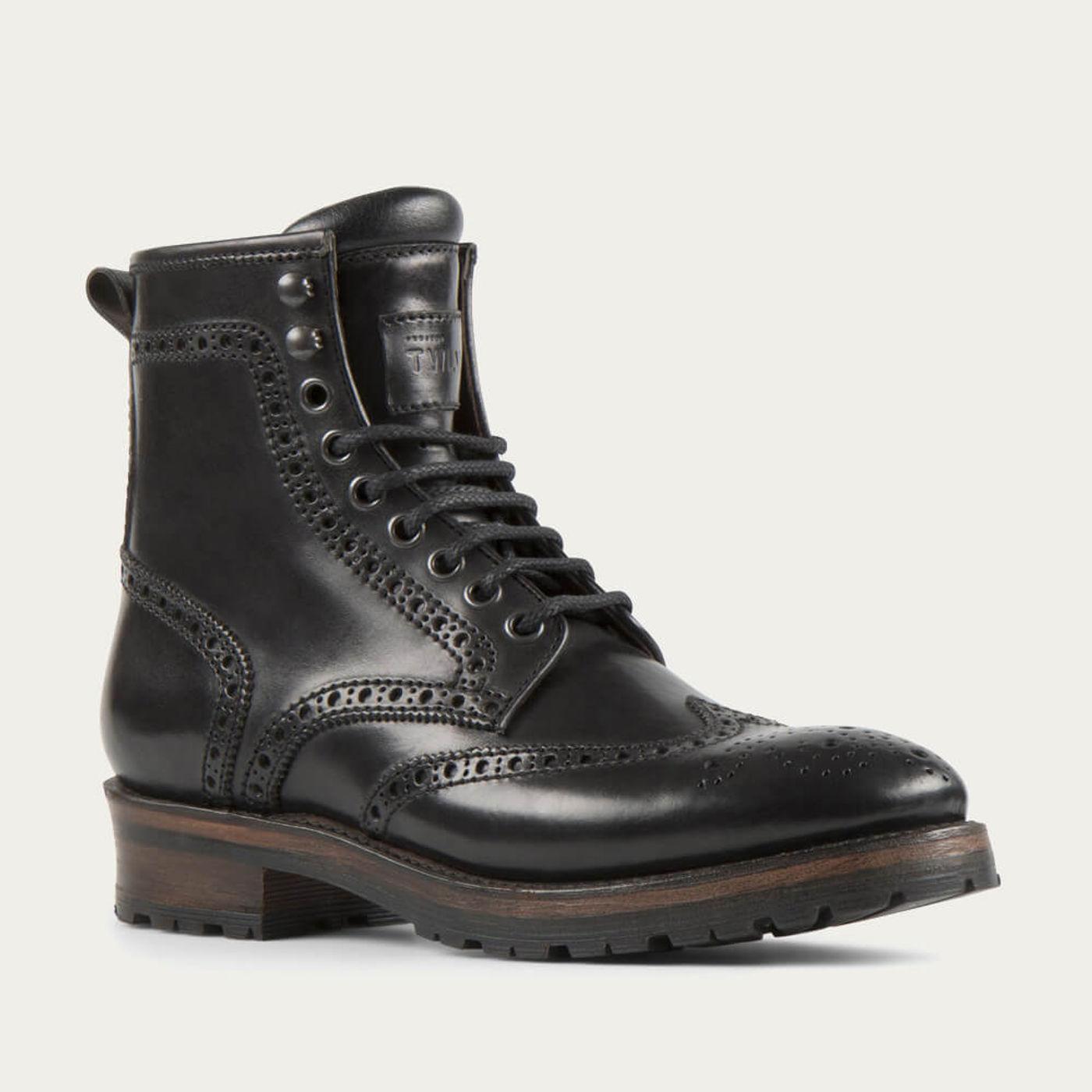 Black Baltimore Cordovan Leather Logger Boots   Bombinate