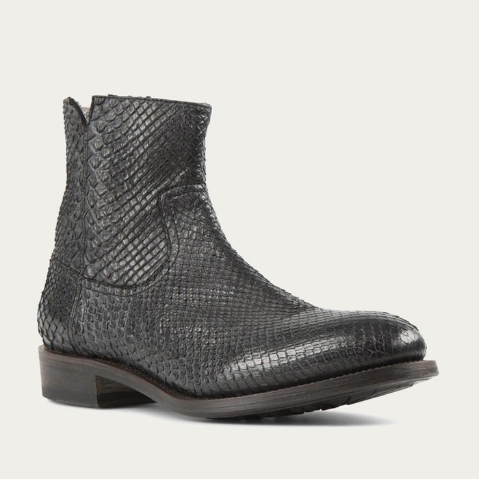 Black Flame Snake Leather Zipper Boots | Bombinate