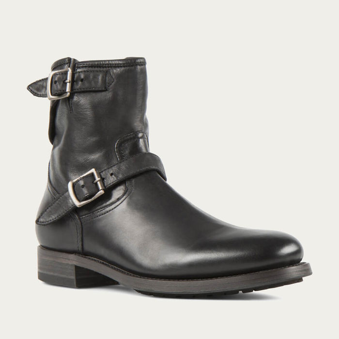 Black Lowrider Washed Calf Leather Rock Boots | Bombinate