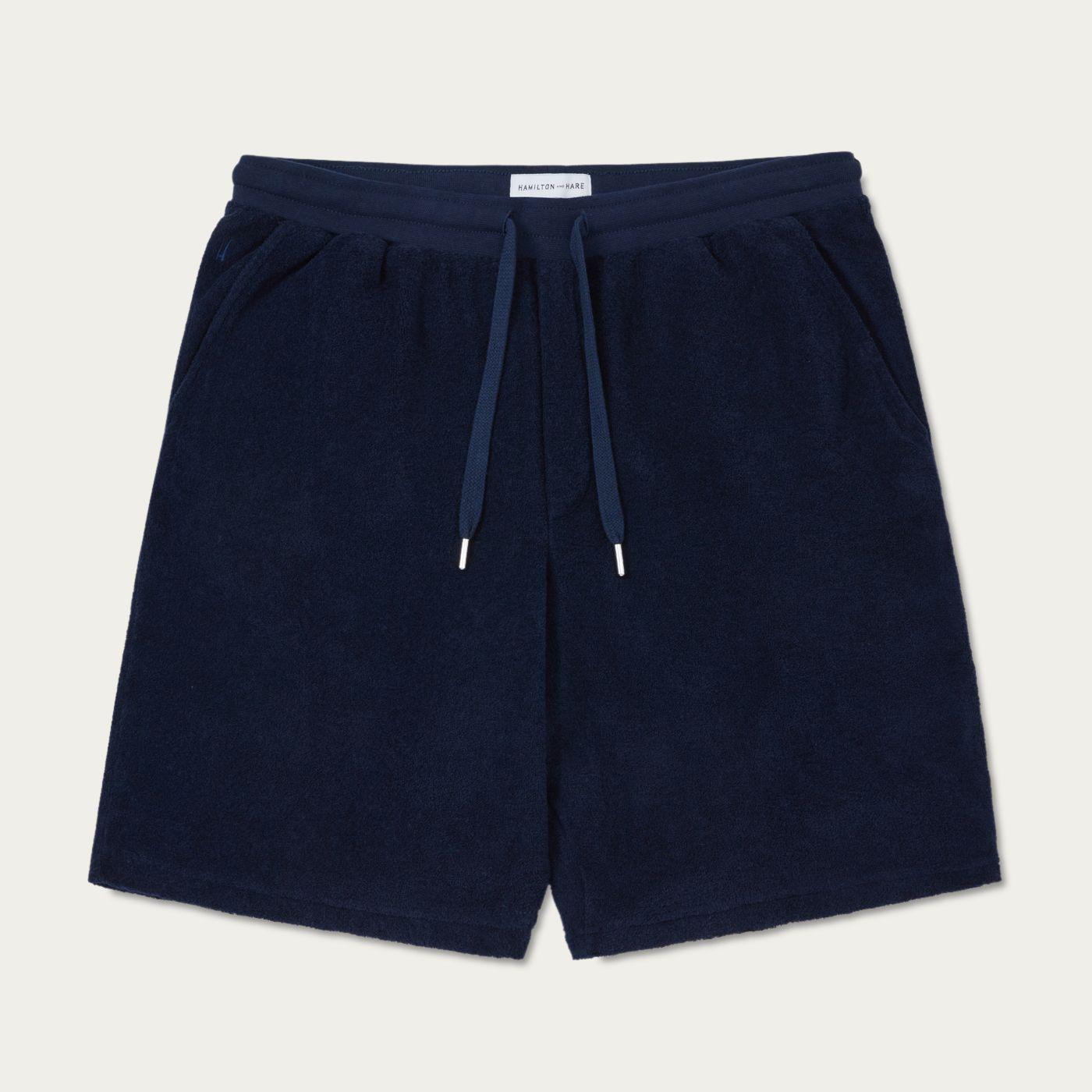 Navy Terry Drawstring Shorts | Bombinate